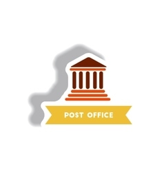 Stylish icon in paper sticker style building post vector