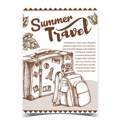 Summer travel luggage on advertising banner vector
