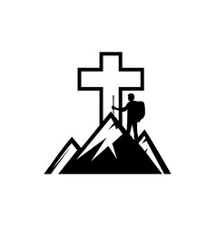 The man on the mountain goes to the cross of jesus vector