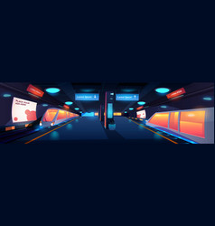 Train in metro station interior at night time vector