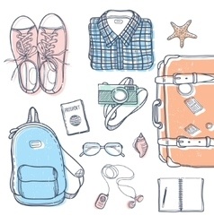 Travel stuff set vector