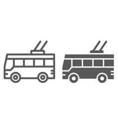trolleybus line and glyph icon transport and vector image