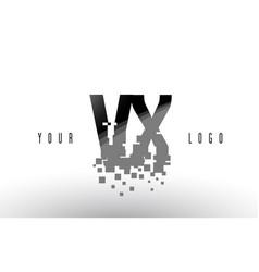 vx v x pixel letter logo with digital shattered vector image