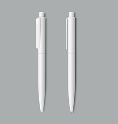 white realistic pen on grey background vector image