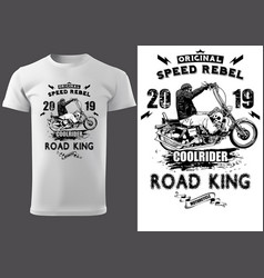 White t-shirt design with motorcyclist vector