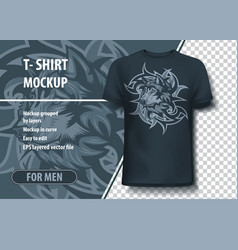 Wolf with tribal background t-shirt template vector
