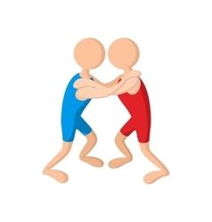 Wrestlers cartoon icon vector