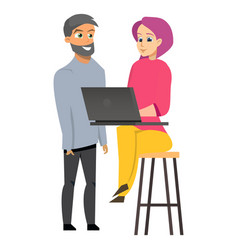 young man and woman working laptop vector image