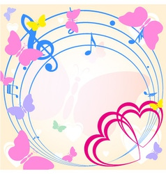 background with heart and music vector image