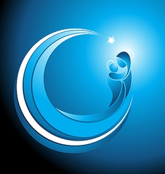 Christmas icon of Mary with baby Jesus vector image