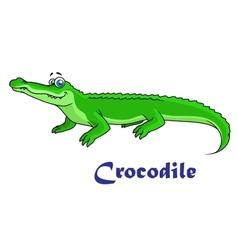 Colorful green cartoon crocodile vector image