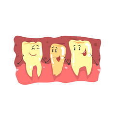 cute cartoon teeth characters with funny faces in vector image