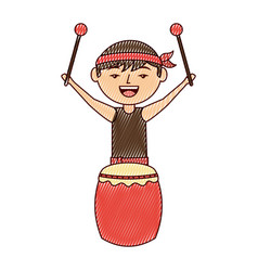 funny cartoon chinese man standing with drum and vector image