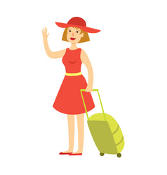 happy tourist woman in red dress and hat with a vector image vector image