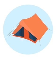 Orange camping tent on blue round icon vector image vector image