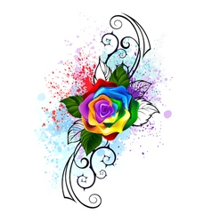 Patterned Rainbow Rose vector image