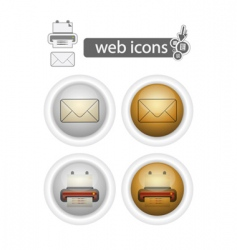 print and mail web icons vector image vector image