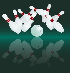 White bowling ball is making a strike vector