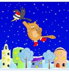 Flying cat vector image