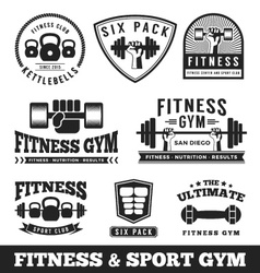 Set of fitness gym and sport club logo vector
