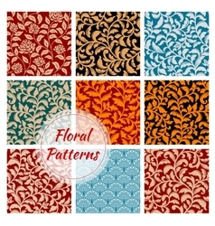 Floral decoration ornament seamless patterns set vector image vector image