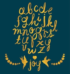 Hand Drawn Gold Foil Letters Birds and Hearts Set vector image vector image
