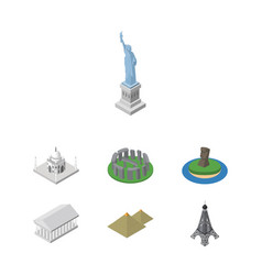 isometric architecture set of athens new york vector image vector image