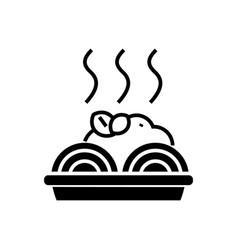 porridge with meatballs icon vector image