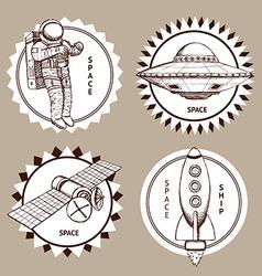 Sketch set of space logotypes vector image vector image