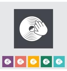 Vinyl disc whit hand vector image