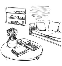 hand drawn room interior sofa and table books vector image