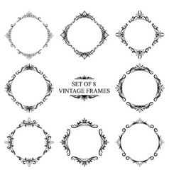 Set of eight decorative vintage monograms on a vector