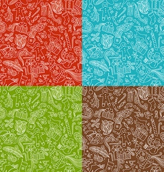 set of seamless doodles Christmas patterns vector image vector image