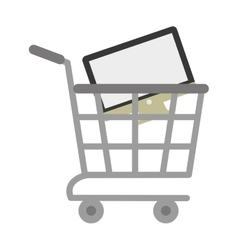 shopping cart online computer digital vector image vector image