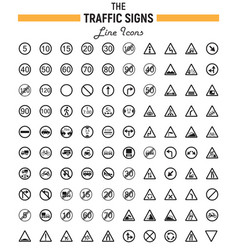 traffic signs line icon set road symbols vector image