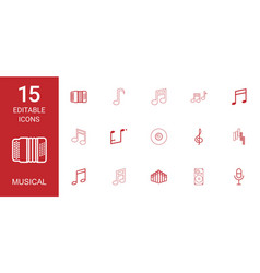 15 musical icons vector image