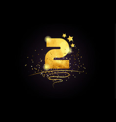2 number icon design with golden star and glitter vector image