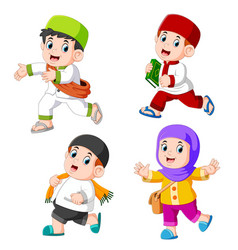 a children muslim with different posing vector image