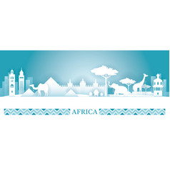 Africa skyline landmarks in paper cutting style vector