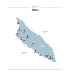 Aruba map with red pin vector