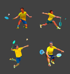 Badminton player in different poses set collection vector