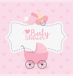 Bashower pink pram sock and pacifier vector
