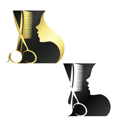 beauty salon and hairdresser symbol vector image