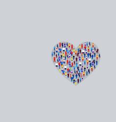 big crowd businesspeople in heart shape vector image