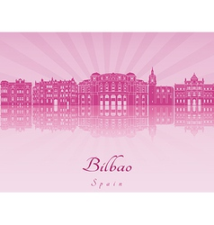 Bilbao skyline in purple radiant orchid vector image