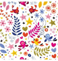 Birds flowers stars and hearts pattern vector
