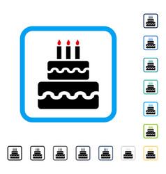 Birthday cake framed icon vector