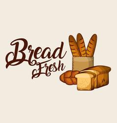 Bread fresh baguette sliced toasts banner vector