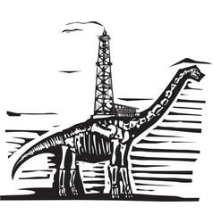 Brontosaurus oil well drill vector