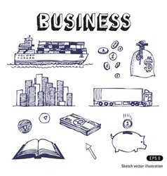 Business finance and transportation icon set vector image